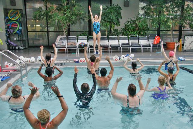 MPH Aquatics Classes working out in the pool